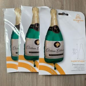 "Set of 3 Large 36"" Champagne Bottle Balloons"